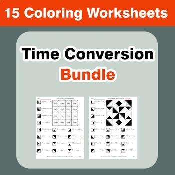 Time Conversion Coloring Worksheets Bundle