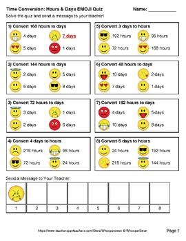 Time Conversion Emoji Quiz (Hours & Days)