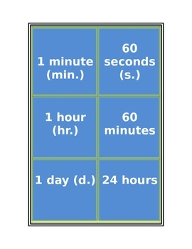 Time Conversion Flash Cards