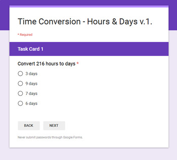 Time Conversion - Hours & Days - Digital Task Cards - Google Forms