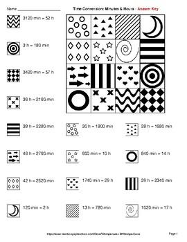 Time Conversion: Minutes & Hours - Coloring Pages | Doodle Art Math