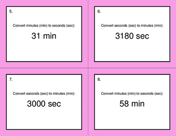 Time Conversion: Minutes & Seconds - BINGO and Task Cards