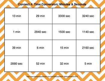 Time Conversion: Minutes & Seconds - Connect 4 Game
