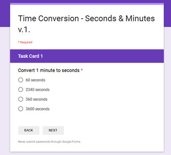 Time Conversion - Minutes & Seconds - Digital Task Cards - Google Forms