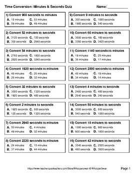 Time Conversion: Minutes & Seconds Quiz - Test - Assessment - Worksheets