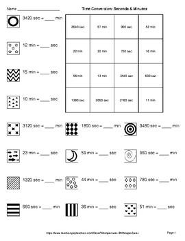 Time Conversion: Seconds & Minutes - Coloring Pages   Doodle Art Math