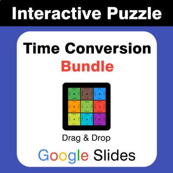 Time Conversions Puzzles with GOOGLE Slides Bundle