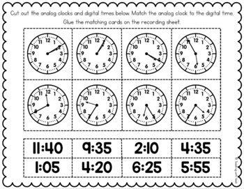 Time Cut and Paste Matching FREEBIE