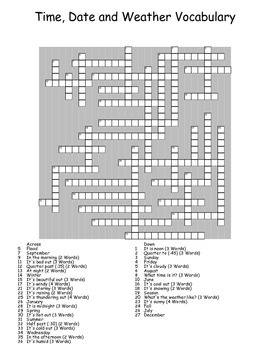 Time, Date and Weather Crossword