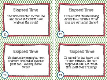 Time Differentiated Task Cards- Clocks and Elapsed Time