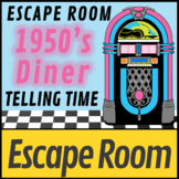Time Digital Escape Room 1950's Diner   Telling Time on a Clock