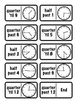 Time Dominoes-Half Hour/Quarter Hour (2.MD.7)