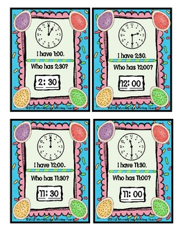 Time :Eggsactly What Time?(Set 1) Hour to Half Hour