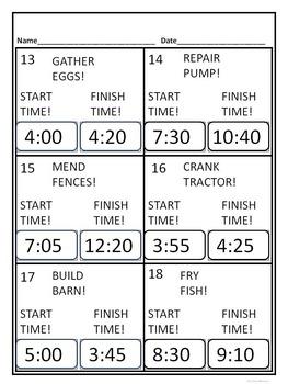 "Elapsed Time ""Farm Life"" (Worksheets)"