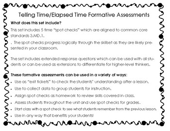 Time & Elapsed Time Formative Assessments / Exit Tickets