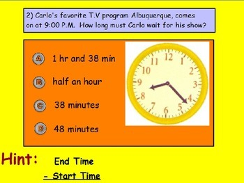 Time- Elapsed Time; Real World Math (POWERPOINT)