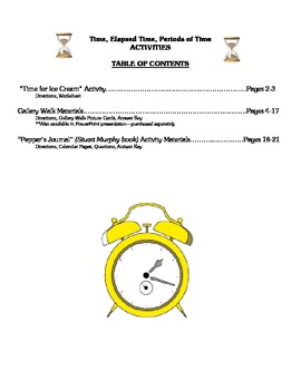 Time, Elapsed Time, and Periods of Time - THREE Math Activities