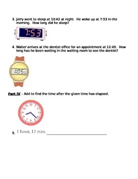 Time - Elapsed Time and Telling Time Assessment (Test)