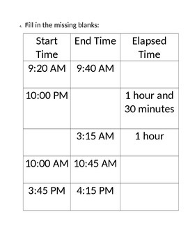 Time & Elapsed Time up to 2 hours