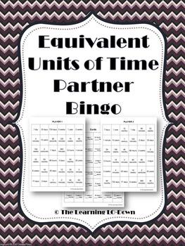 Time: Equivalent Units of Time Partner Bingo