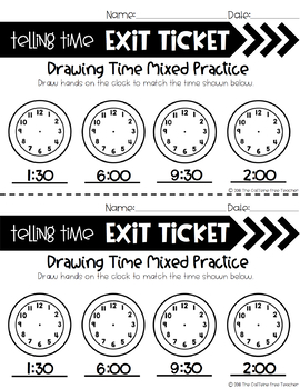Time Exit Tickets for First Grade