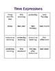 Time Expressions Bingo