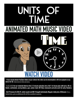 Time & Calendar | FREE Poster, Worksheet, & Fun Video | 1st-3rd Grade