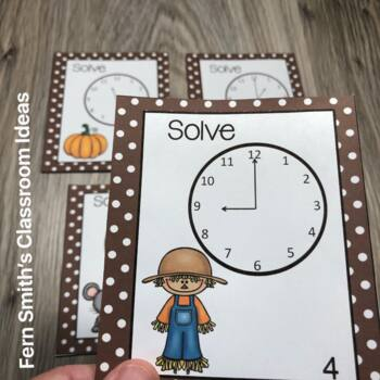 FREE Fall Time to the Hour and Half-Hour Task Cards and Recording Sheets