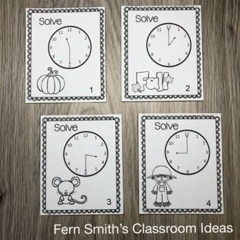 Fall Time to the Hour and Half-Hour Task Cards and Recording Sheets Freebie