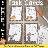 Fall Time to the Hour and Half-Hour Task Cards and Recordi