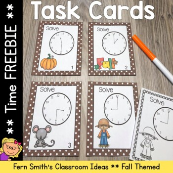 FREE Fall Time to the Hour and Half-Hour Task Cards and Re