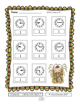 Time - Hour, Half-Hour, Quarter-Hour FALL Themed