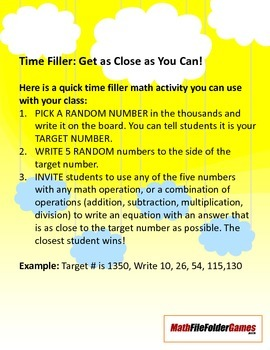 Time Filler: Get as Close as You Can!