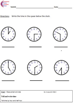 1.MD.3  Time First Grade Common Core Math Worksheets 1.MD.B.3