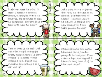 Time For A BBQ  (elapsed time word problems task cards)