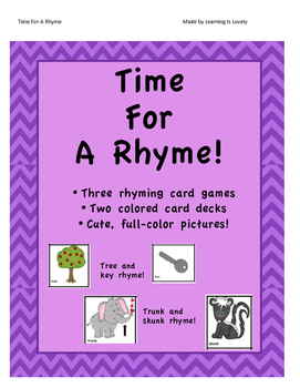 Time For A Rhyme: 3 Card Games