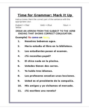 Time For Grammar: Mark It Up (Spanish Present Tense)
