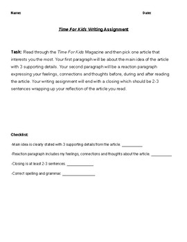 Time For Kids Assignment w/ Rubric