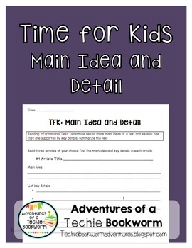 Time For Kids- Main Idea/Detail, Summarizing {FREEBIE}