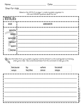 Time For Kids Supplemental Pack - Ask & Answer Questions + Summarizing