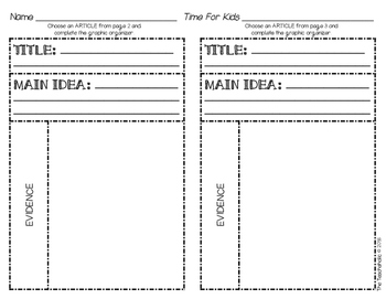 Time For Kids Supplemental Pack - Main Idea and Evidence