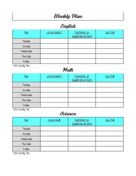 Time For Learning Weekly Assignment Planner