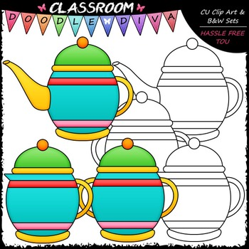 Time For Tea Clip Art - Tea Clip Art & B&W Set