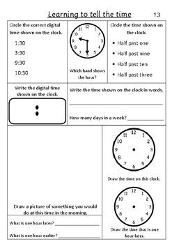Time Half Past - Pack 2
