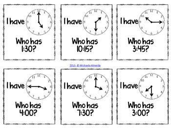 Time (Hour, Half Hour, Quarter Hour) - I have.. Who has?