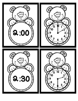 Time - Hour and Half Hour - Bear - Black & White