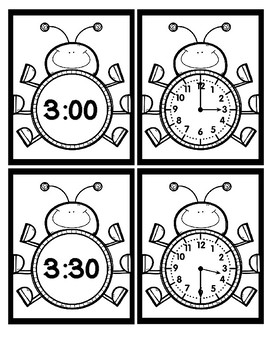 Time - Hour and Half Hour - Bugs - Black & White