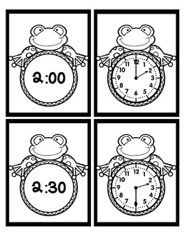Time - Hour and Half Hour - Frogs - Black & White