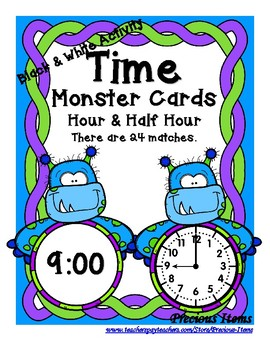 Time - Hour and Half Hour - Monsters - Black & White