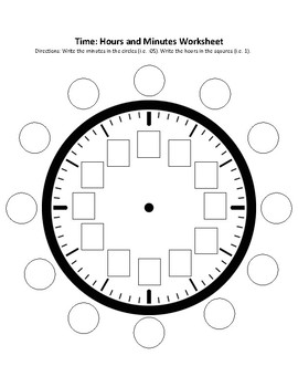 time hours and minutes clock worksheet by ashley hamilton